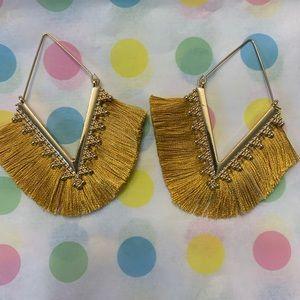 Gold Fringe Dangle Earrings Gold